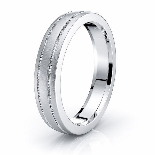 Solid 10k White Gold 4mm Standard Flat Comfort Fit Wedding Band